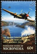 WWII 1944 RAF HAWKER TYPHOON Attacks Enemy on River Rhine Aircraft Stamp