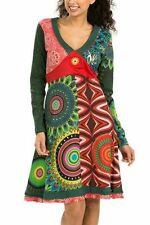 New Desigual Ladies Dress 'HANALEIS' Green & Multi, Size S