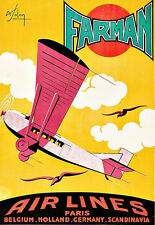 Farman Air Lines Airplane Areoplane Plane Travel Paris Europe  Poster Print