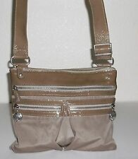 Brighton Light Brown / Taupe Nylon & Patent Leather Crossbody Shoulder Bag Purse