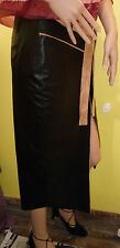 Balizza Black Leather Skirt with Belt Estimated UK Size 8 .