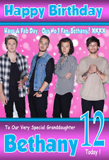 1D ONE DIRECTION NEW '2016' A5 SIZE Personalised Birthday Card! ANY NAME / AGE!