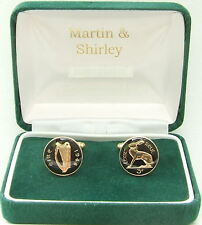 1948 IRISH Cufflinks made from old IRELAND Threepence coins in Black & Gold