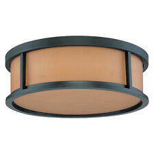 Aged Bronze Energy Star Flush Ceiling Light With Parchment Glass 15""