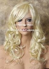 Long Open Curly/wavy Layered Pale Blonde Wig w. bangs jsbc 613