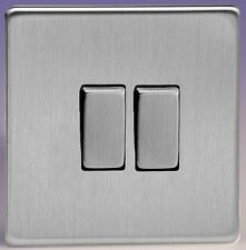 Varilight Screwless Brushed Stainless Steel 2 Gang 2 Way Rocker Light Switch 10A