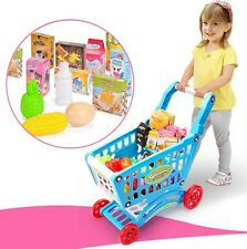 Kids Childrens Mini Shopping Trolley Cart Role Play Set Toy Plastic Fruit Food @