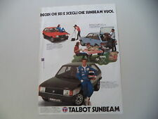 advertising Pubblicità 1980 TALBOT SUNBEAM TI/LOTUS/1.0 e 1.3 GLS