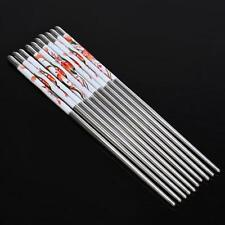 5 Pairs Stainless Steel Chopsticks Best Gift Set Assorted (10 Chop Sticks)