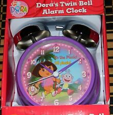 RARE NEW IN BOX DORA The EXPLORER TWIN BELL ALARM CLOCK Battery Operated