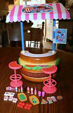 VINTAGE BARBIE HAMBURGER STAND STOOLS FOOD DRINKS SEE PHOTOS