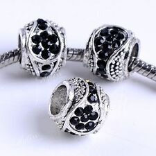 5PC Tibetan Silver Black Crystal Flower 6mm European Bead Charms For Bracelet
