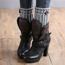 1 Pair Knitted Leg Warmers Socks Boot Cover Gray