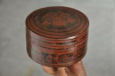 Old Wooden Straw Stick Woven Floral Picture Lacquer Handcrafted Box With 4 Bowls
