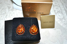 New $100 HEIDI DAUS Captivating Couture Simulated Amber Earrings CLIP ON