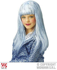 Para Niños Largo Azul Peluca Lady Gaga Katy Perry Pop Star Fancy Dress