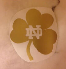 "Notre Dame Shamrock Car Decal or Wall Sticker-Vinyl-Small-Metallic Gold-4"" x 4"""