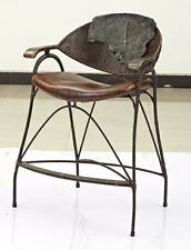 "44"" H Bar stool chair steel frame bronze detail Italian brown leather upholstery"