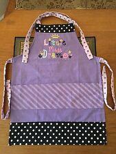 Girl's Purple Dots & Stripes Black Trim & White Dots Embroidered 3 pocket Apron