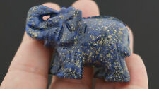 Natural  Egyptian blue Lazuli Lapis  Gemtones Hand Carved Elephant Figurine