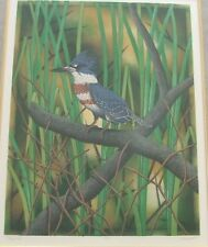 King Fisher Life Size Etching Handcolored in Oil Signed  by the Artist Costin
