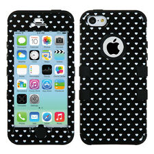 iPhone 5C Rubber IMPACT TUFF HYBRID Case Skin Phone Cover Black Heart Dots