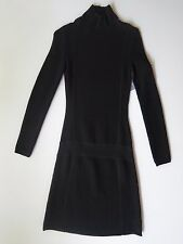 Athleta Black Organic Cotton Wool Stretch Long Sleeve Ribbed Dress XXS NWT $98.