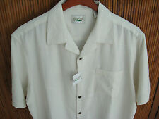 NWT Mens Silk Camp Shirt Ivory Textured Casual Beach Cool Hawaiian Solid New XL