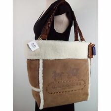 Rare! NWT COACH 21231 Poppy Shearing Heritage Large Tote Bag Fur Spain $698