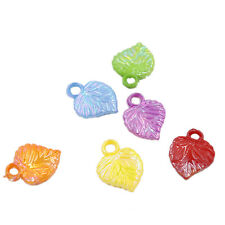 100x Mix Colorful Plastic Small Leaf Charms Pendants Fit Jewelry Craft On Sale D