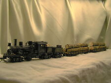1  Climax Logging Steam Engine DCC + 2  cars -weathered, custom built- lot b -HO