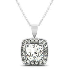 3.70 CT FOREVER BRILLIANT MOISSANITE CUSHION MICRO PAVE HALO PENDANT