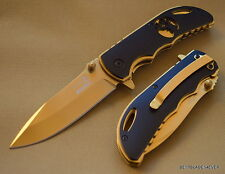 "ELK RIDGE 4.5"" CLOSED GOLD BLADE SPRING ASSISTED KNIFE WITH POCKET CLIP NEW!!!"