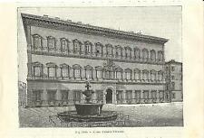 Stampa antica ROMA Veduta del Palazzo Farnese 1889 Old antique print Rome