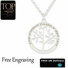 Family Tree Pendant, Personalised Name Necklace, 18K White Gold Plated, Gift, UK