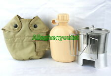 NEW US Military 5 PC 1 QUART PLASTIC CANTEEN SET w TAN COVER, STOVE, CUP w LID