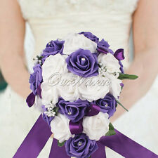 Rose Bridal Bouquet Teardrop Crystal Garland Wedding Bride Holding Decor Purple
