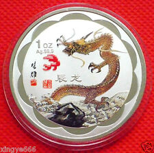 Lovely  Chinese Lunar Zodiac Colored Silver Coin - Year of the Dragon