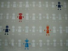 "HARLEQUIN  CURTAIN FABRIC DESIGN ""Reggie Robot"" 1 METRE NEUTRAL MULTI COTTON"