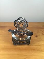 Vintage Caviar Bowl With Spoon Glass Serving Dish Antique