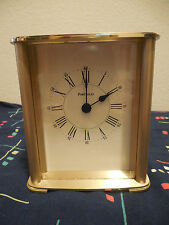 VINTAGE TIFFANY & CO SOLID BRASS PORTFOLIO DESK MANTEL TABLE CLOCK WEST GERMANY