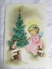 Greeting Card Merry Christmas Tree Wishes New Year Vintage Angel Bird Rabbit