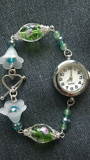 Handmade Beads Watch ( silver green white flower)