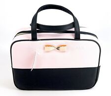 Victoria's Secret Pink Black Bow Hanging Travel Case Makeup Cosmetic Bag