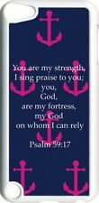 Navy and Pink Anchor Psalm 59:17 on iPod Touch 5th Gen 5G White TPU Case Cover