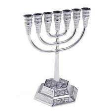 Silver Jerusalem Candle Holder Decorative Judaica 7 Branch Menorah Israel Jewish