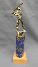 male BASEBALL trophy award theme blue column natural finish wood base