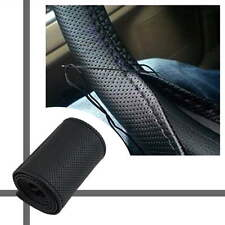Car Truck Leather Steering Wheel Cover With Needles and Thread Black DIY Top New
