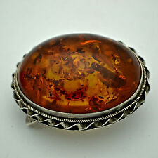 Baltic Amber Sterling Silver Belt Buckle Amazing color LARGE golden glow
