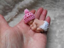 OOAK miniature  BABY DOLL /5cm polymer  clay pink bobble hat  by HARRY